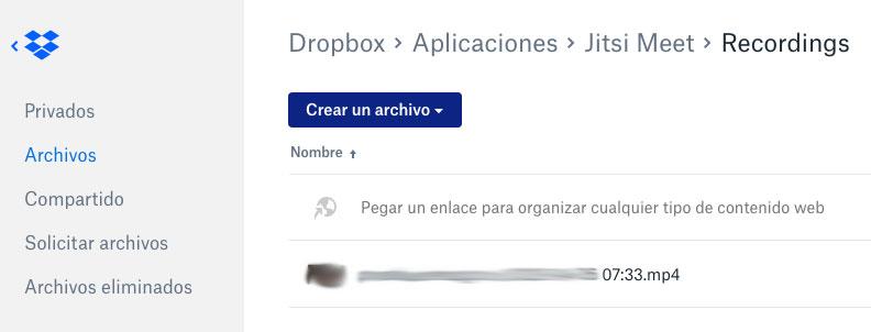 Grabaciones en Dropbox de videoconferencias de Jitsi Meet